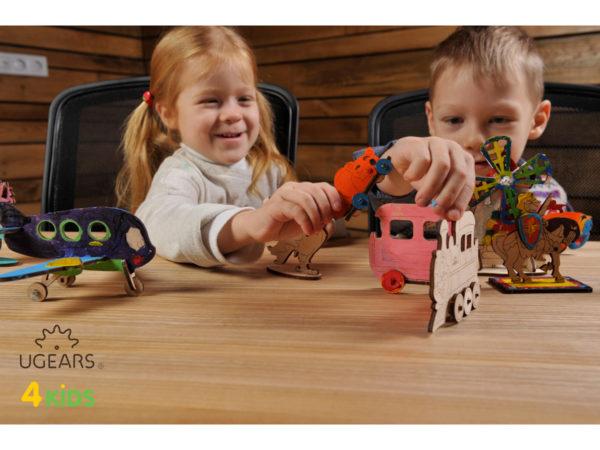 Деревянная модель-раскраска для детей UGears Котенок и ...